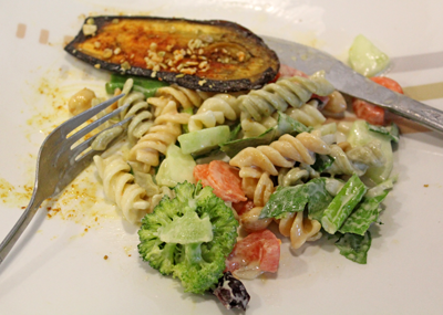 pasta salad served with fried eggplant